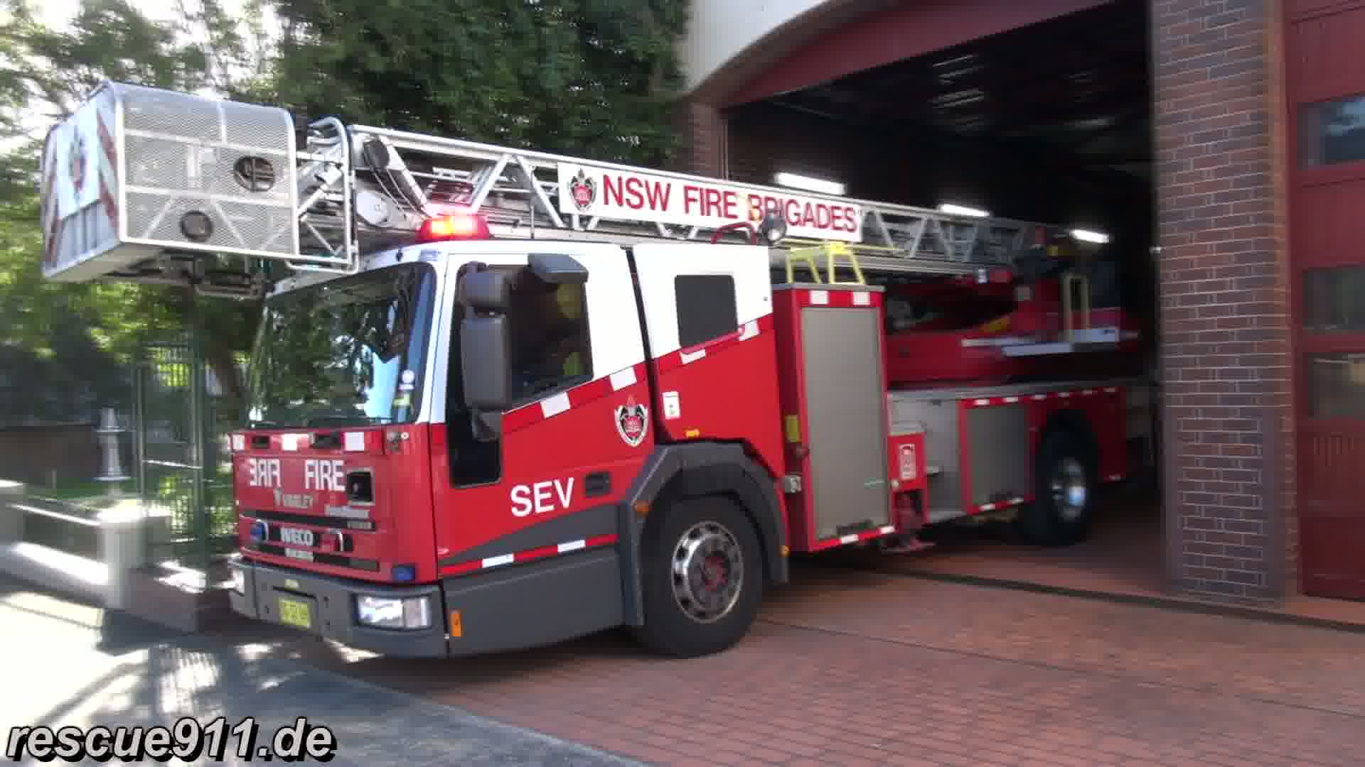 Ladder truck Fire & Rescue NSW Glebe Fire station (stream)