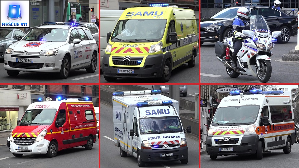 SAMU + Ambulance + Transport Organes + Protection Civile + Police Paris (compilation) (stream)