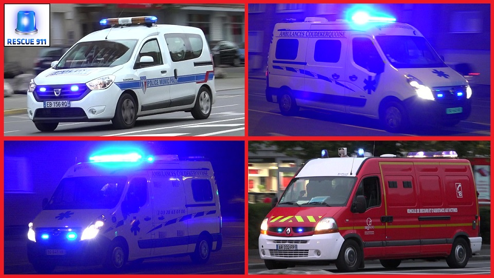 Ambulance Coudekerquoise Dewitte + Police Municipale + VSAV SDIS 59 CIS Dunkerque (stream)