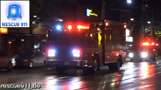 Pump 344 + High Rise 332 + Car 33 Toronto Fire Services (stream)