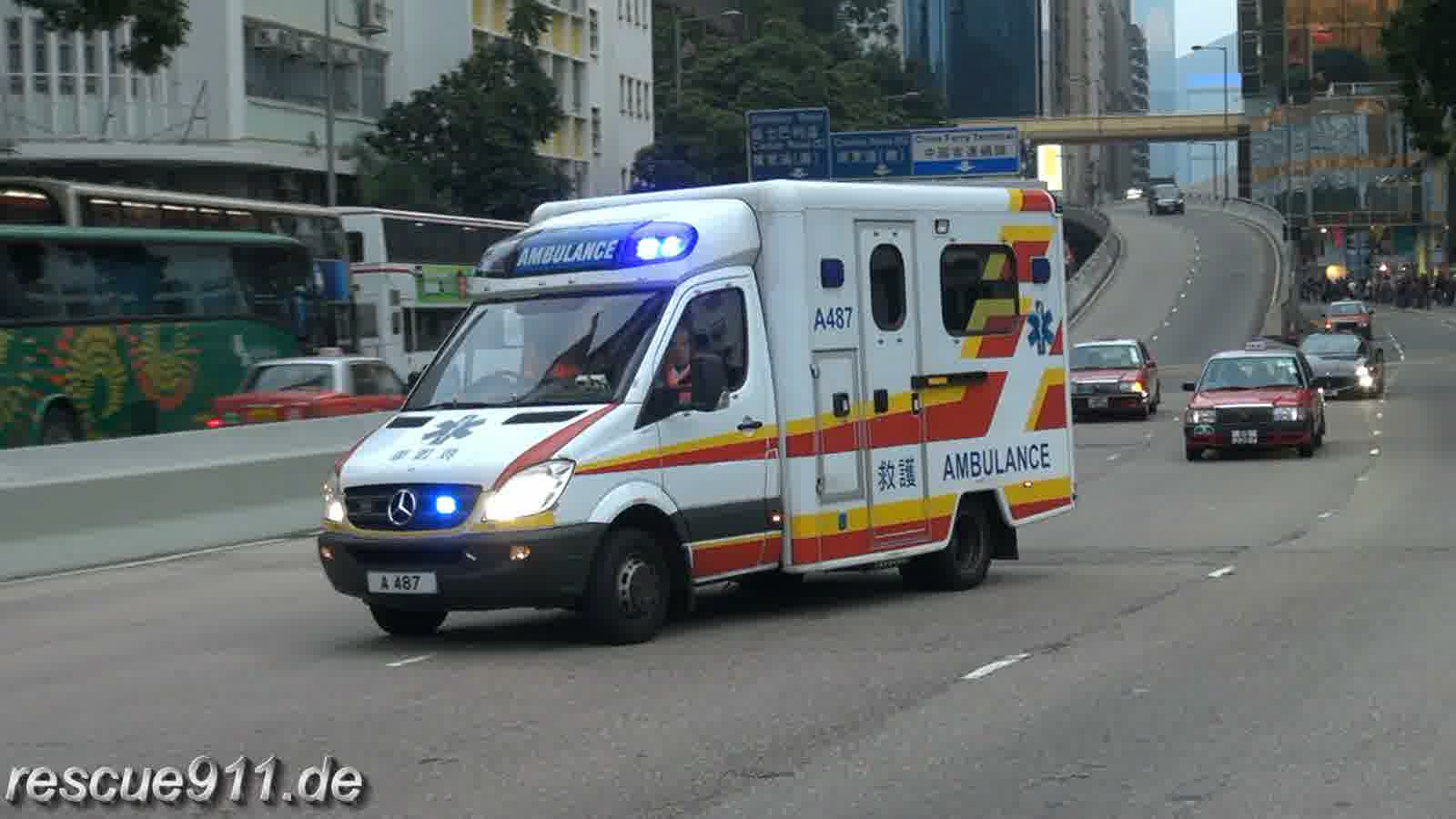 Ambulance 471 + 487 HKFSD Tsim Sha Tsui Fire Station (collection) (stream)