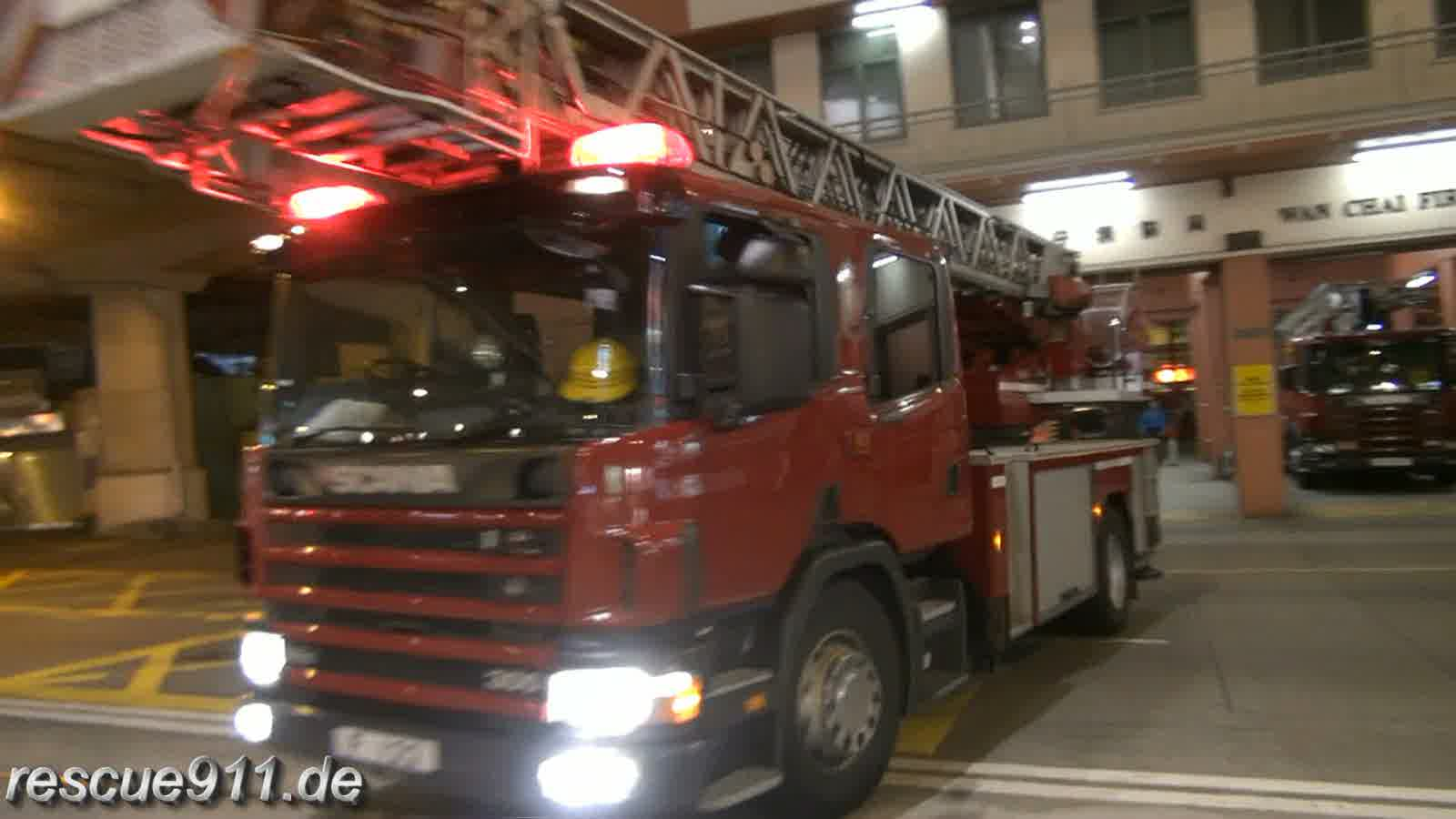Turntable Ladder + Major Pump HKFSD Wan Chai FS (stream)