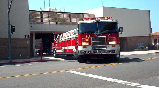 Ladder 1 + Care Ambulance A1 Fullerton Fire Department