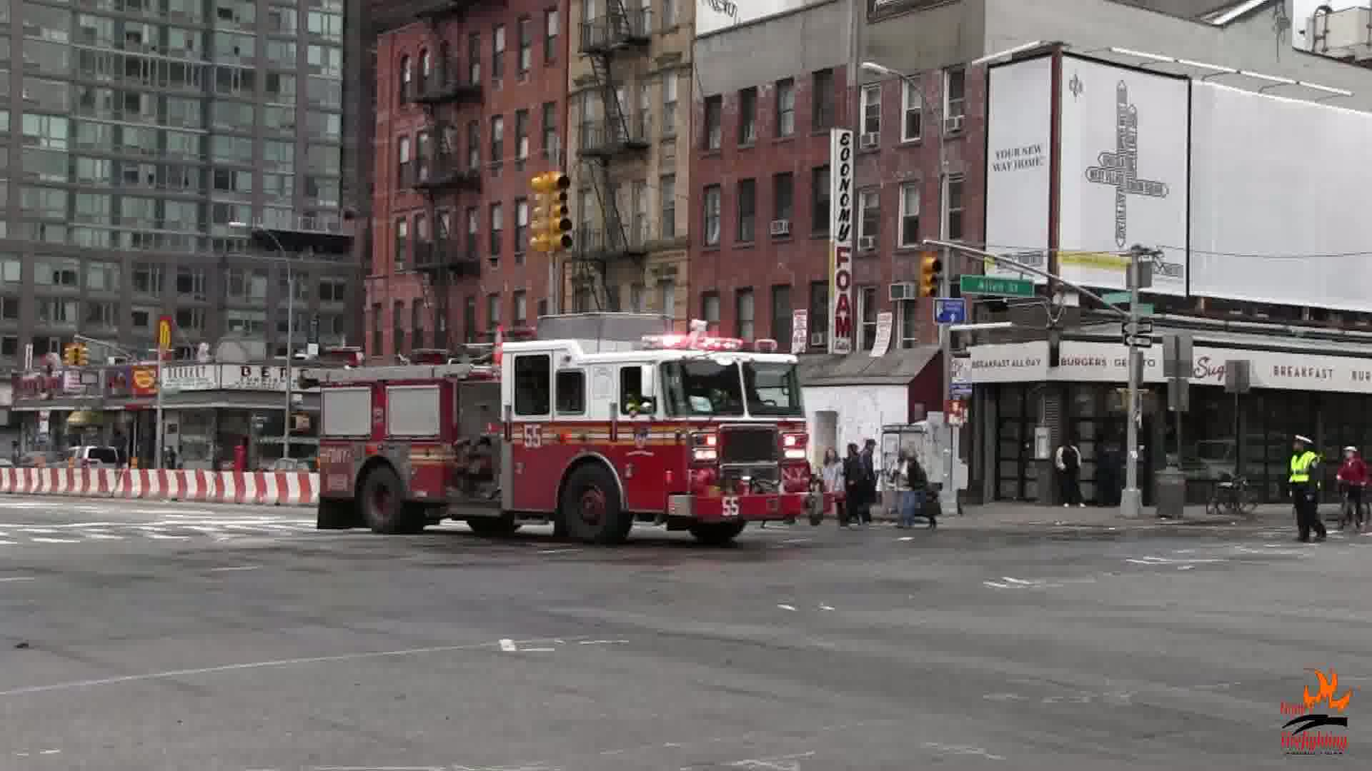 Engine 55 + Ambulance 120 FDNY + Ambulance 3338 Transmed