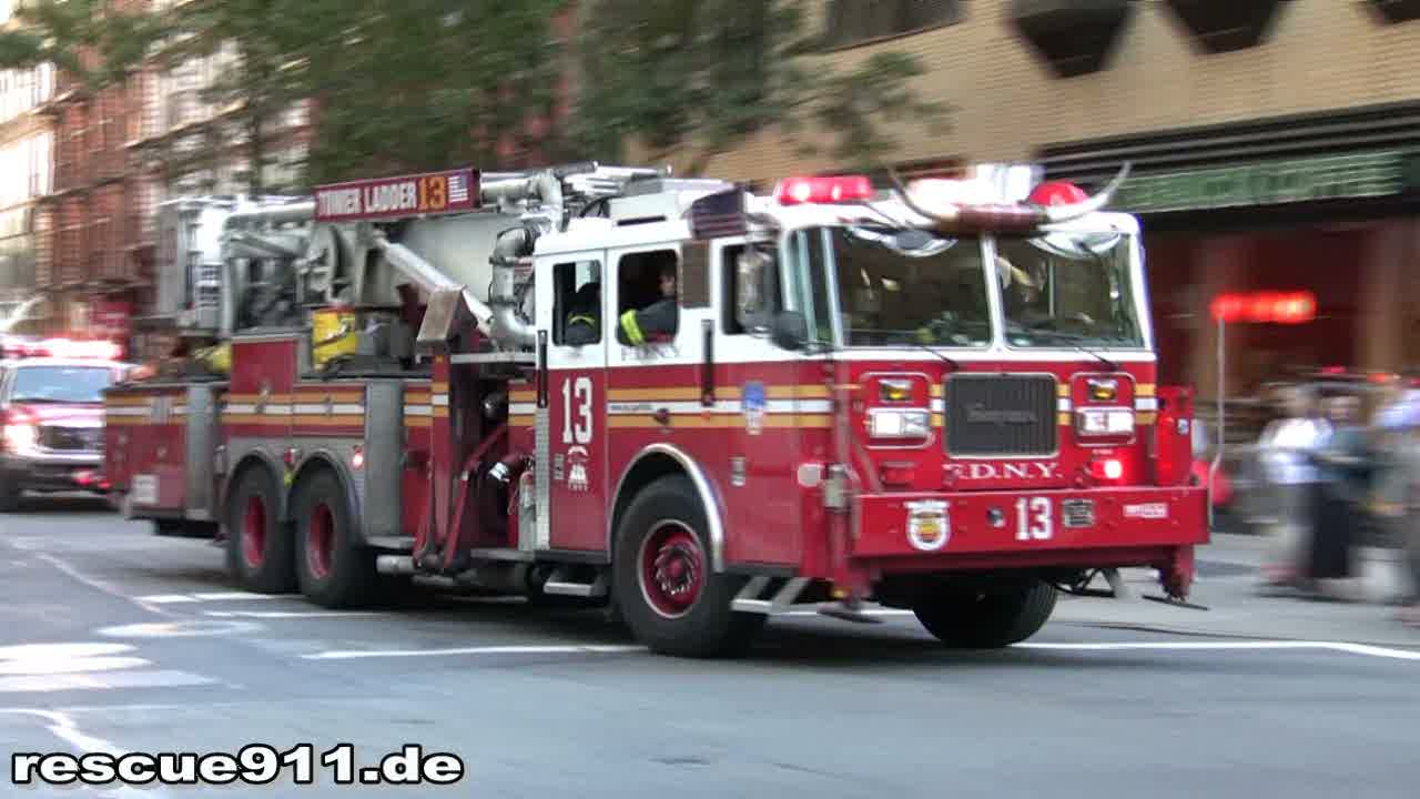 Engine 22 + Tower Ladder 13 + Battalion 10 FDNY (stream)