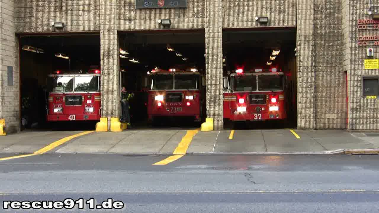 Engine 37 + Tiller Ladder 40 + Tower Ladder 23 FDNY (stream)