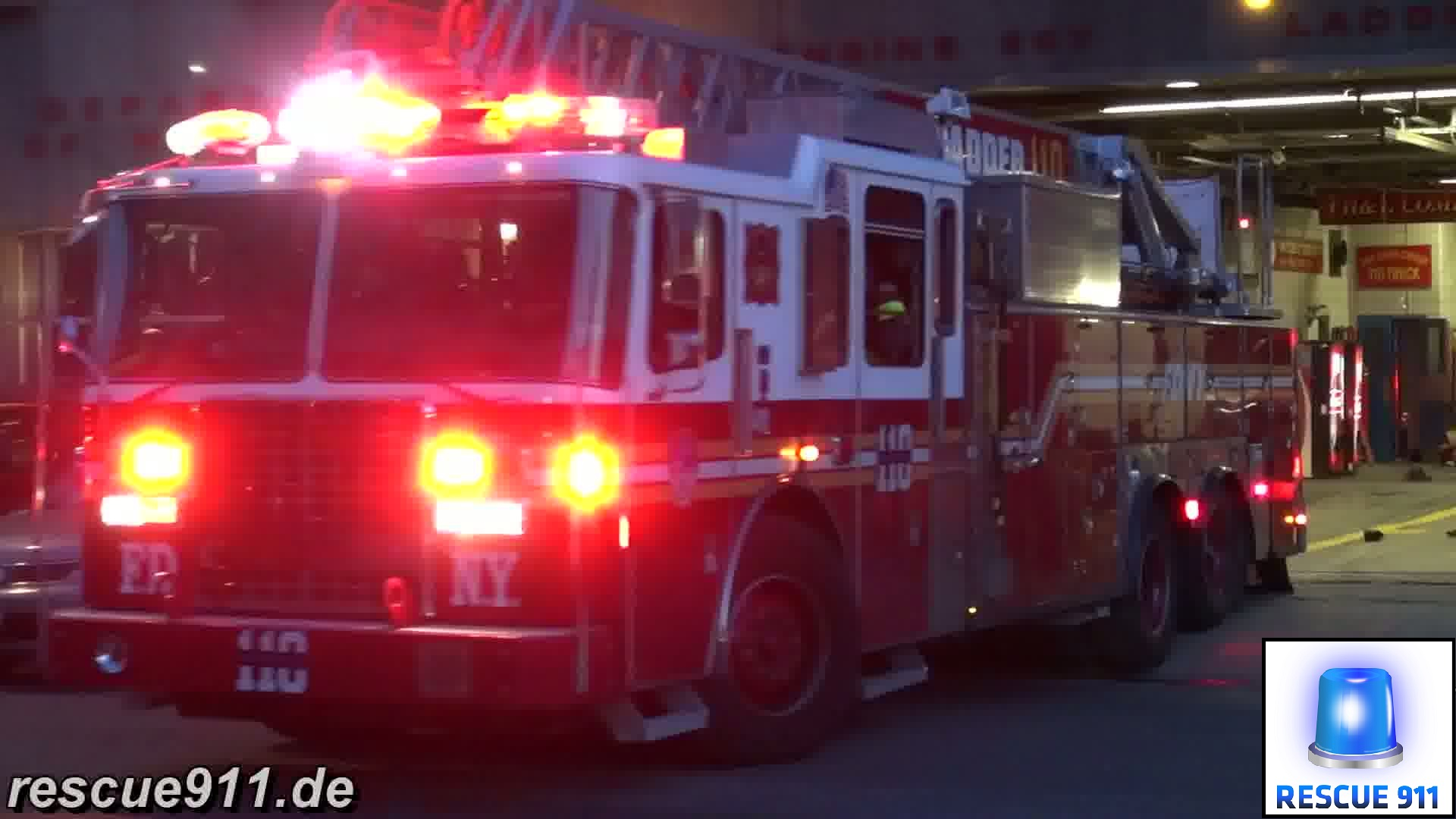 Engine 207 + Ladder 110 FDNY (stream)