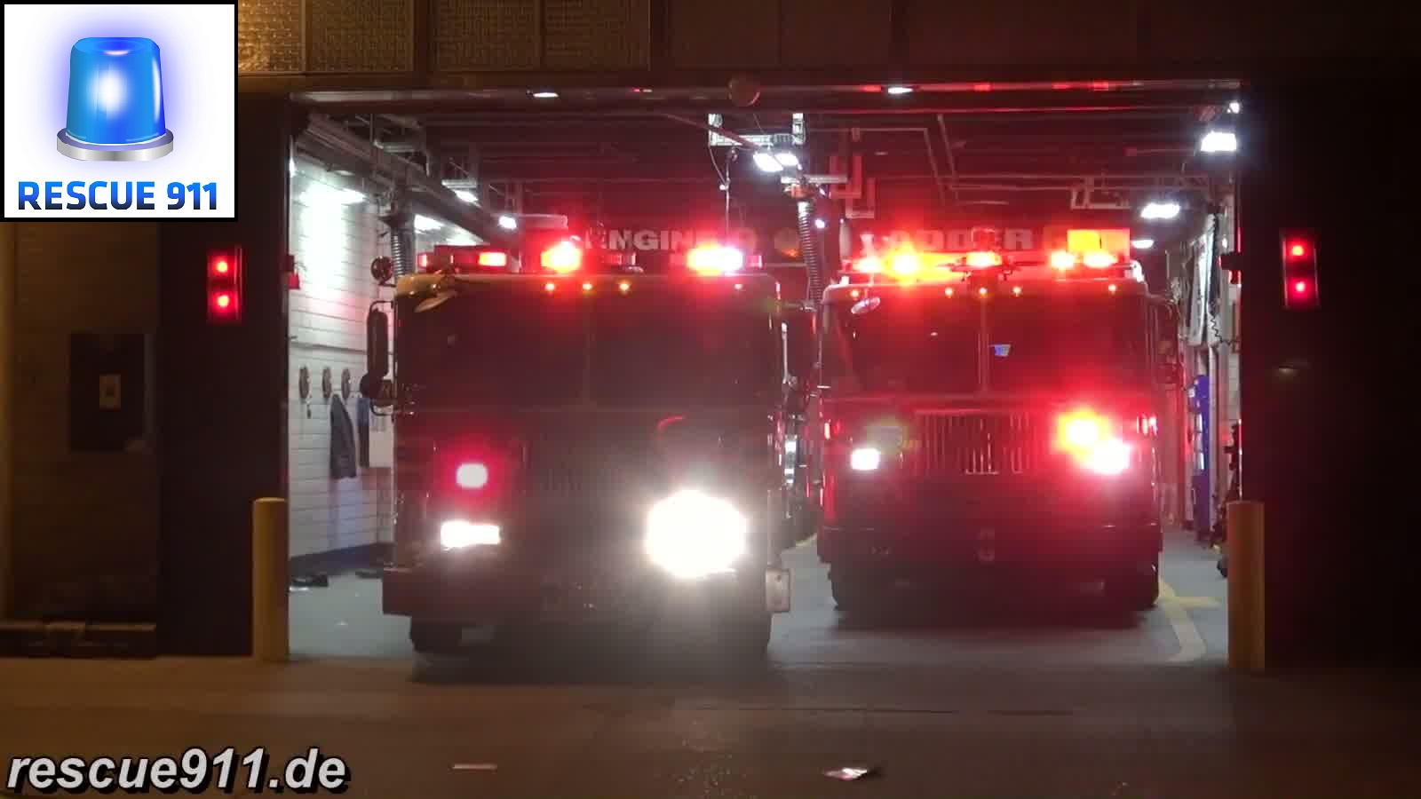 Engine 9 + Tiller Ladder 6 FDNY (stream)