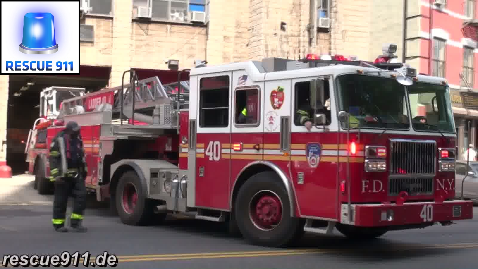 Engine 37 + Tiller Ladder 40 FDNY (stream)