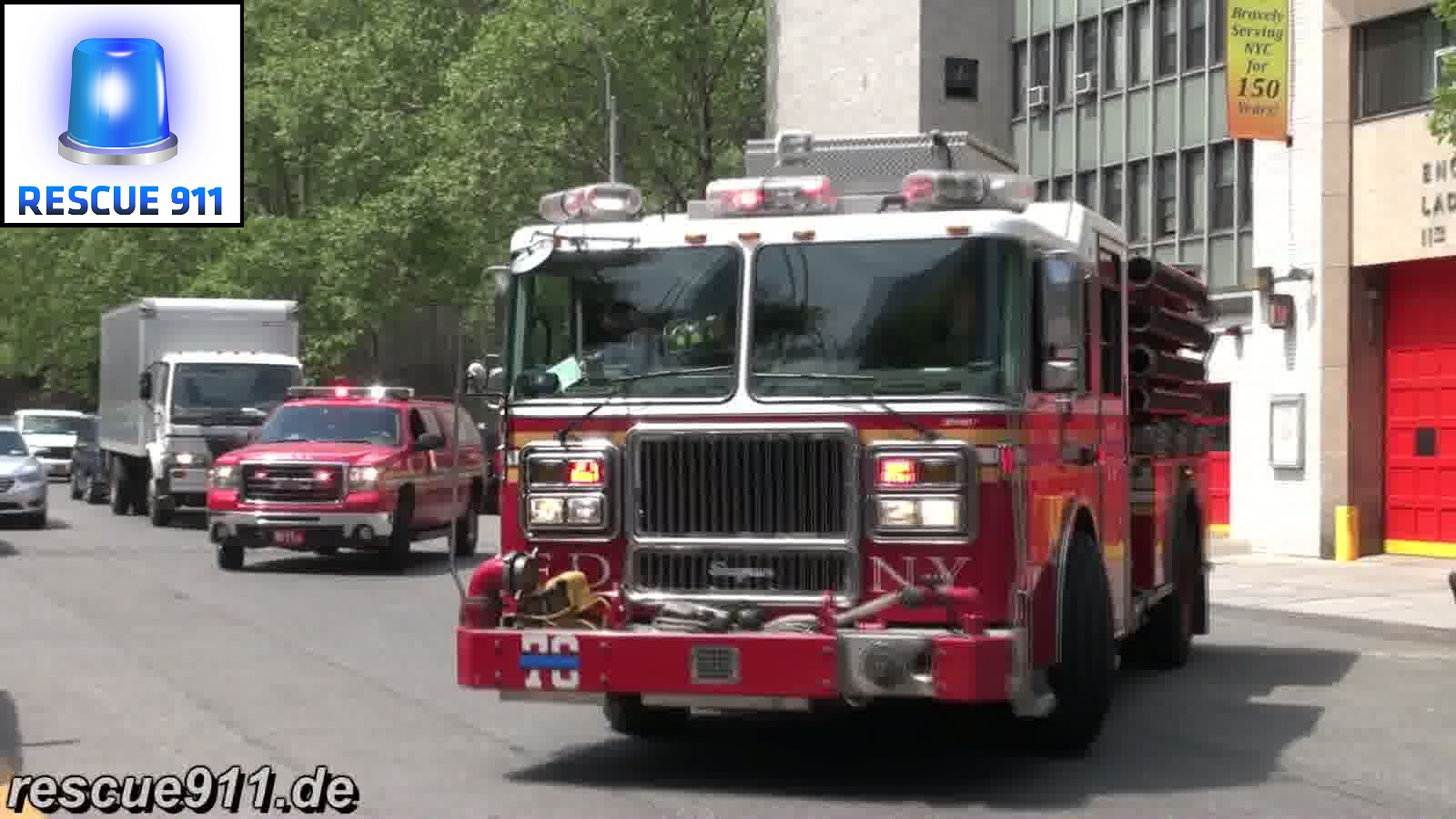 Ladder 22 + Engine 76 + Battalion 11 FDNY (stream)
