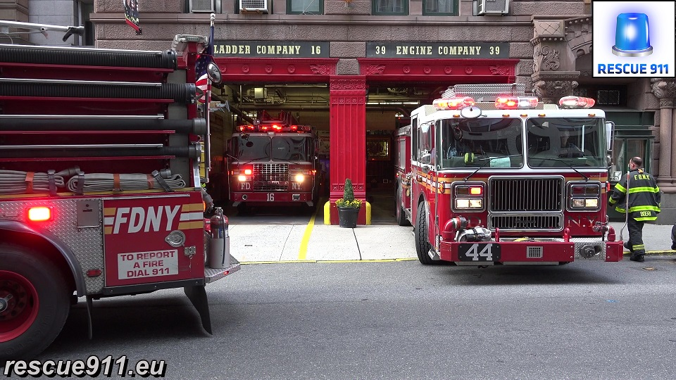 Engine 39 + Engine 44 + Ladder 16 FDNY (stream)