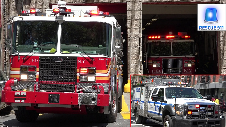 NYPD ESU + FDNY Engine 37 + Tiller Ladder 40 (stream)