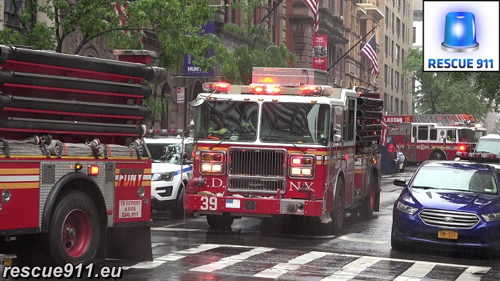 Engine 44 + Engine 39 + Ladder 16 FDNY (stream)