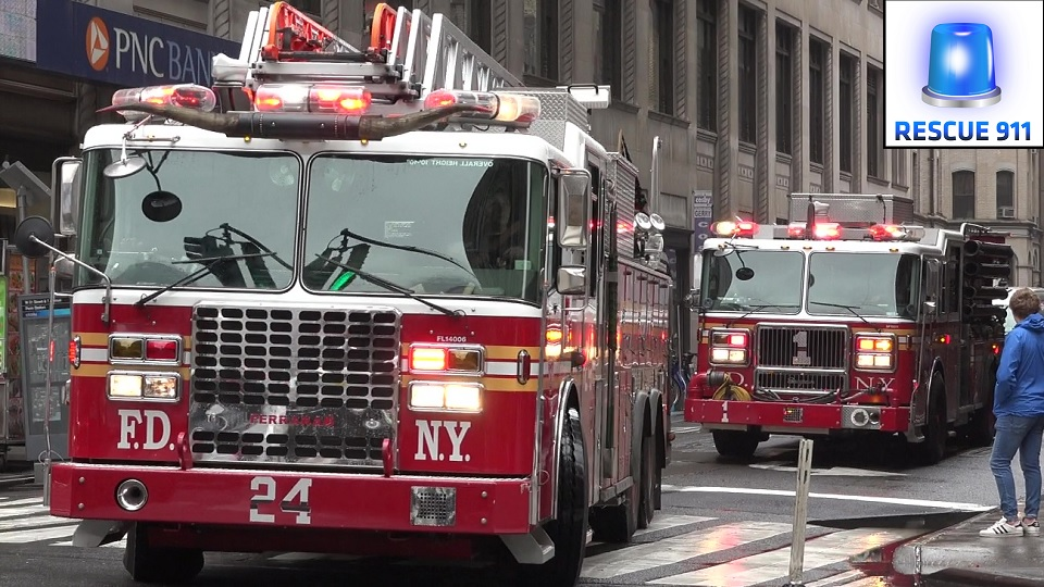 Ladder 24 + Engine 1 FDNY (stream)