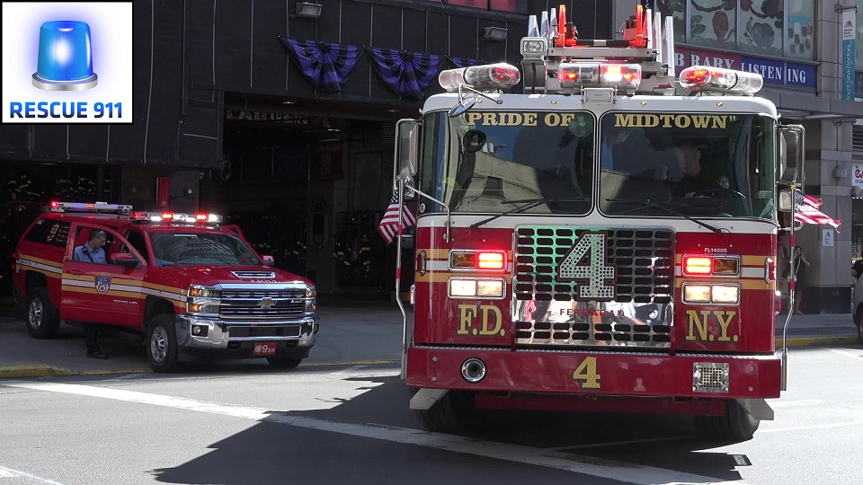 Engine 54 + Ladder 4 + Battalion 9 FDNY (stream)