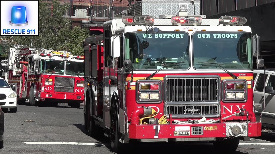 Engine 7 + Ladder 1 + Battalion 1 FDNY (stream)