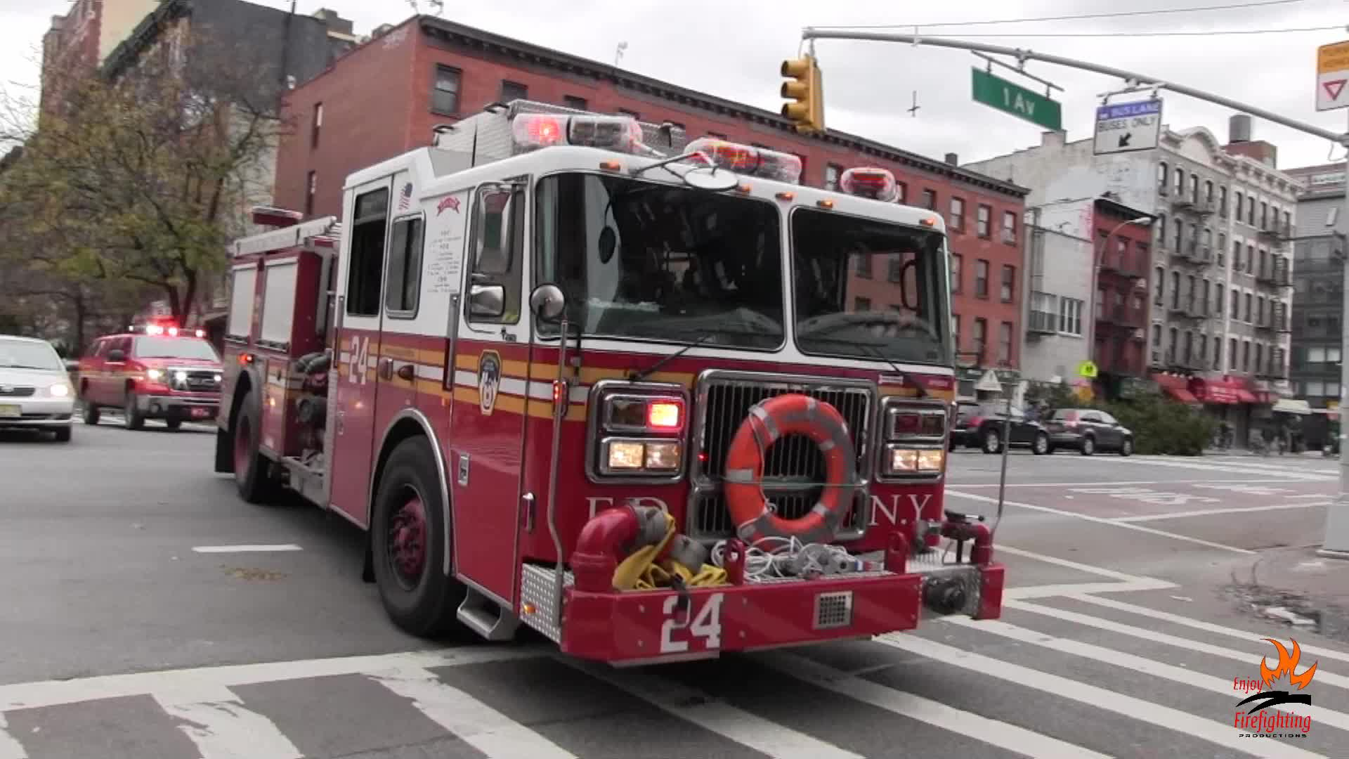 Ladder Truck 3 + Engine 24 + Battalion 7 FDNY