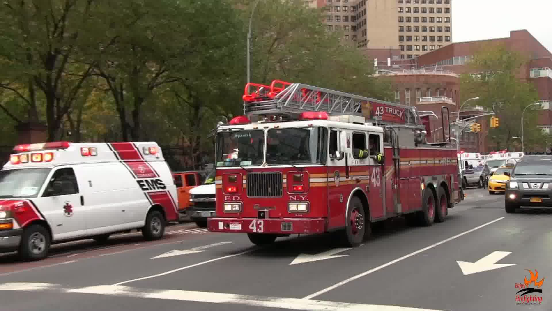 Ladder Truck 43 FDNY + Ambulance Medstar