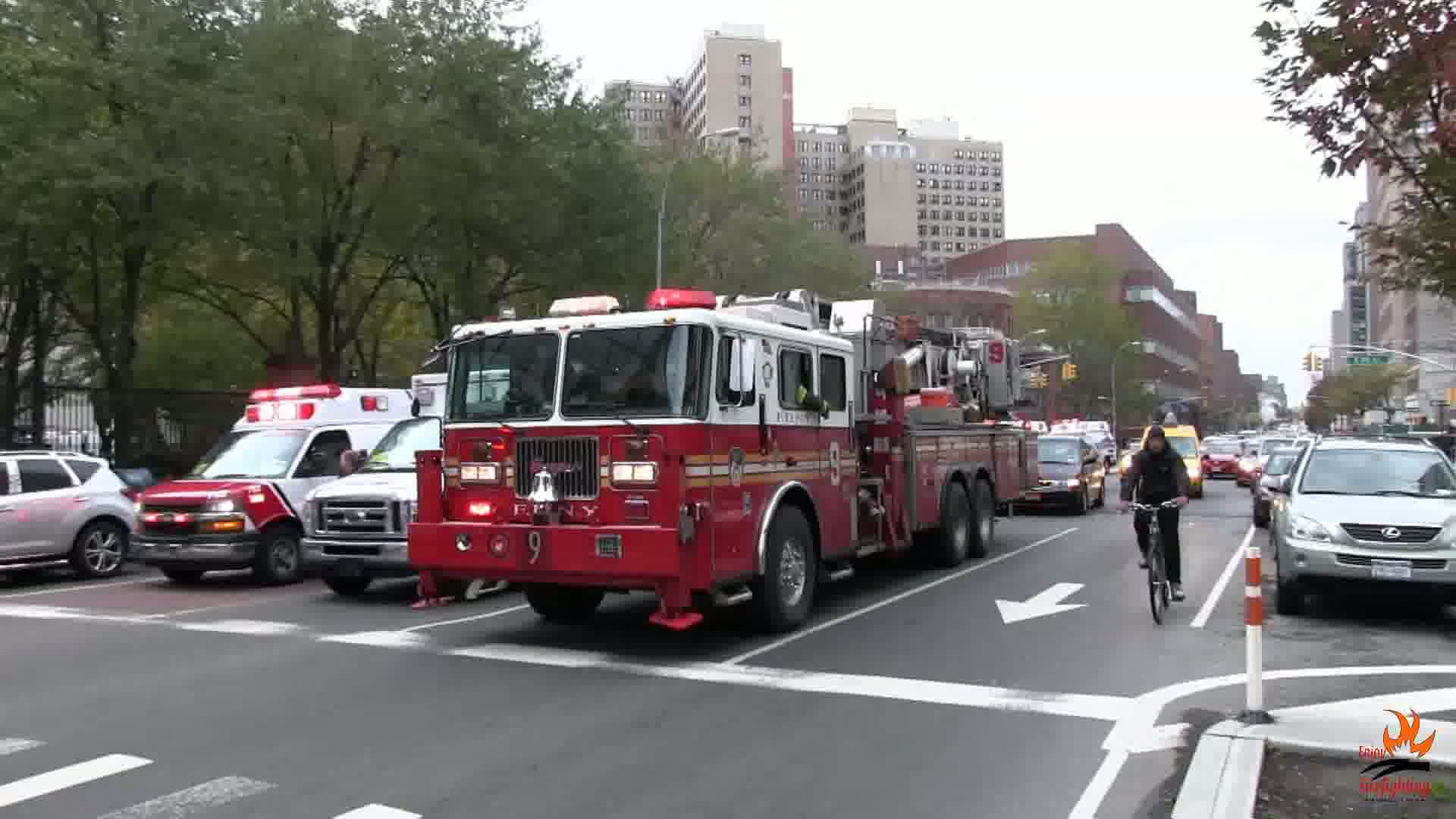 Tower Ladder 9 + Engine 21 + Battalion 8 FDNY + Police Van NYPD