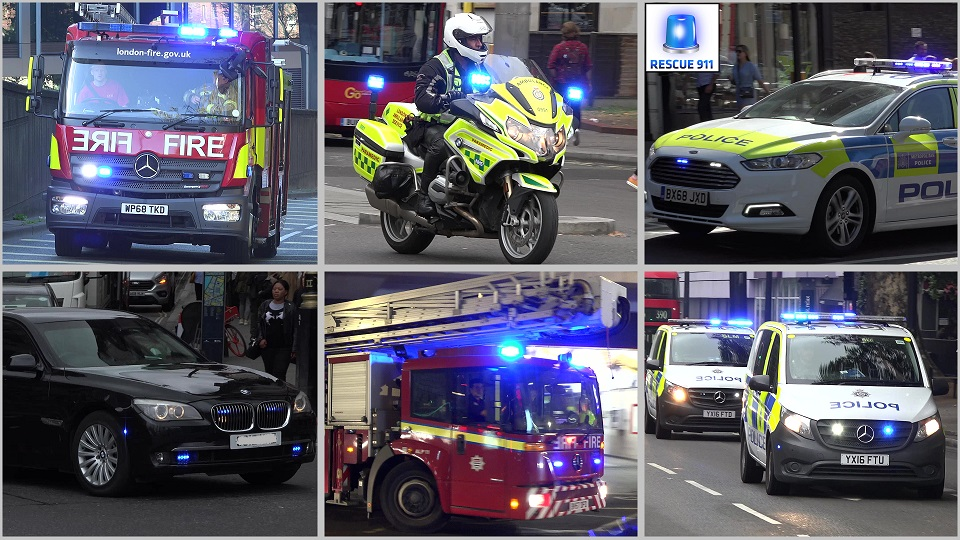 London Fire Brigade + Ambulance Service + Police (collection) (stream)