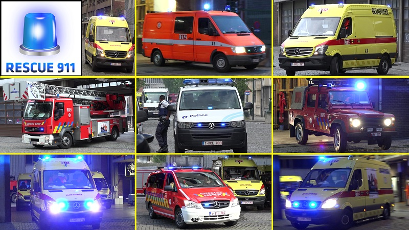 Pompiers + Ambulance + Police Bruxelles (compilation) (stream)