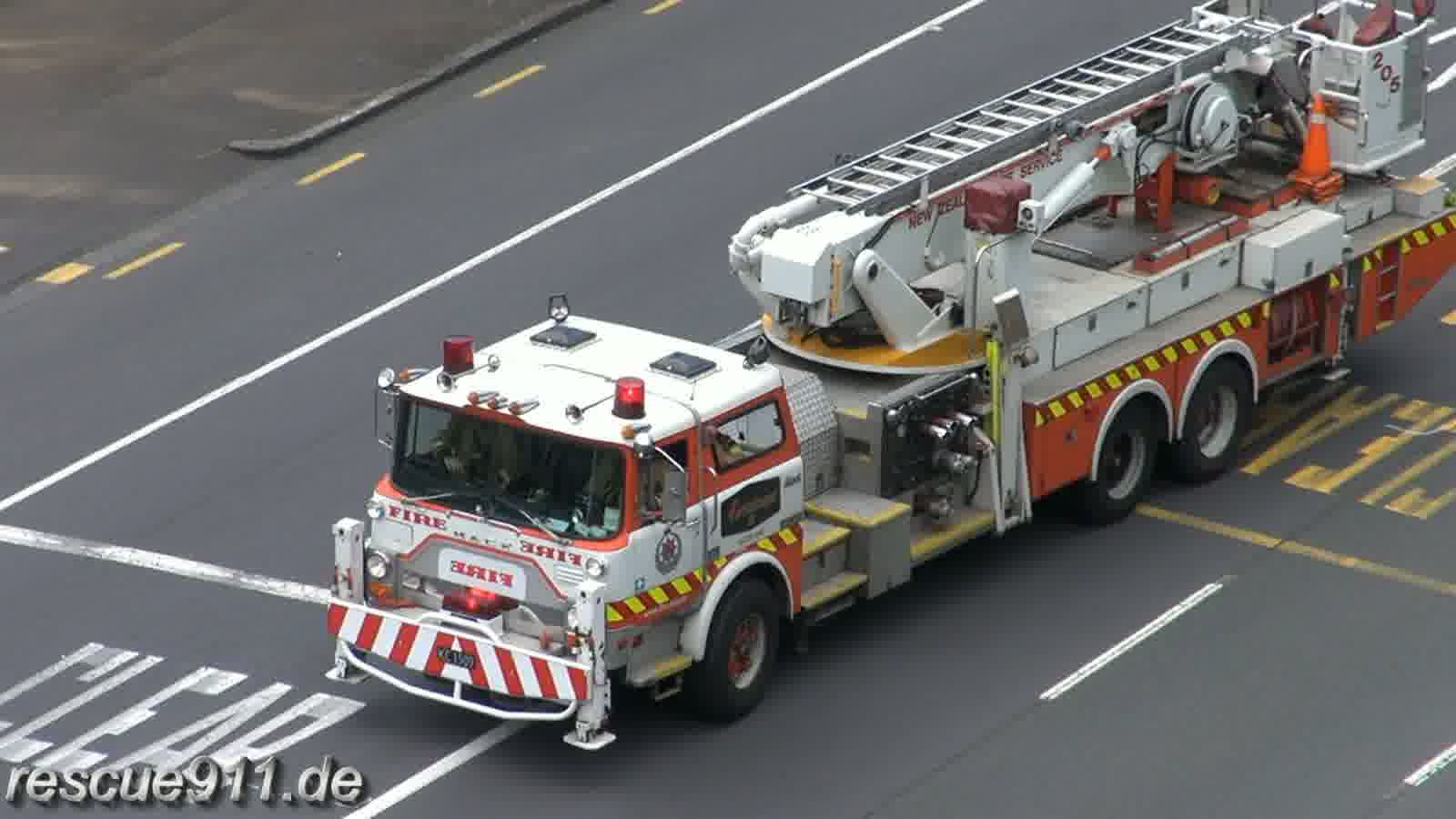 Aerial 205 New Zealand Fire Service Auckland City Fire Station (stream)