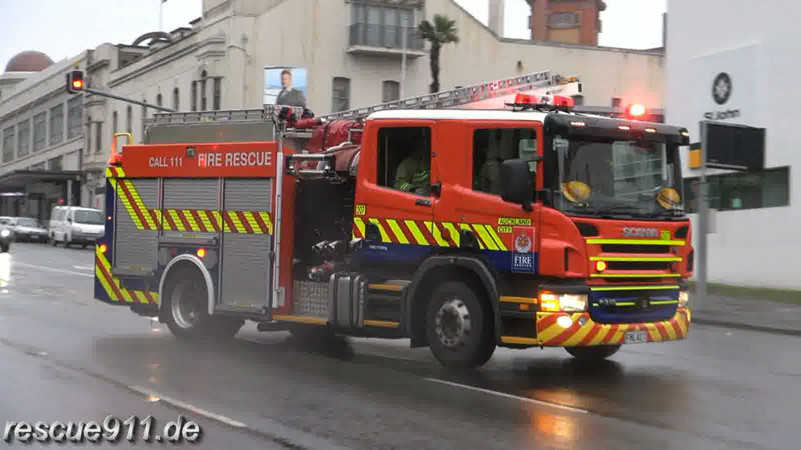 Pump 207 New Zealand Fire Service Auckland City Fire Station (stream)