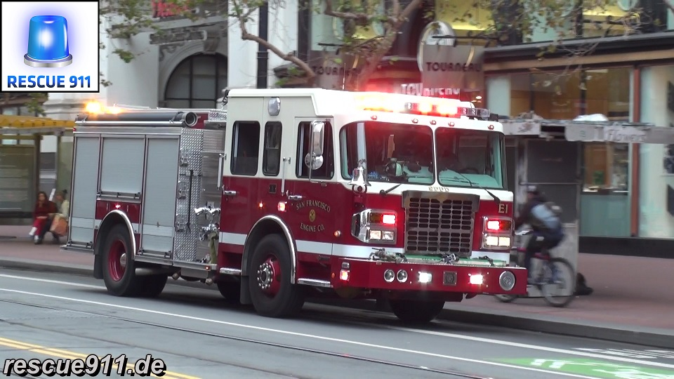 Engine 1 SFFD + Ambulance AMR San Francisco (stream)
