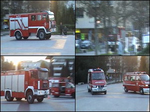 Engines on the scene of a fire in city of Velenje