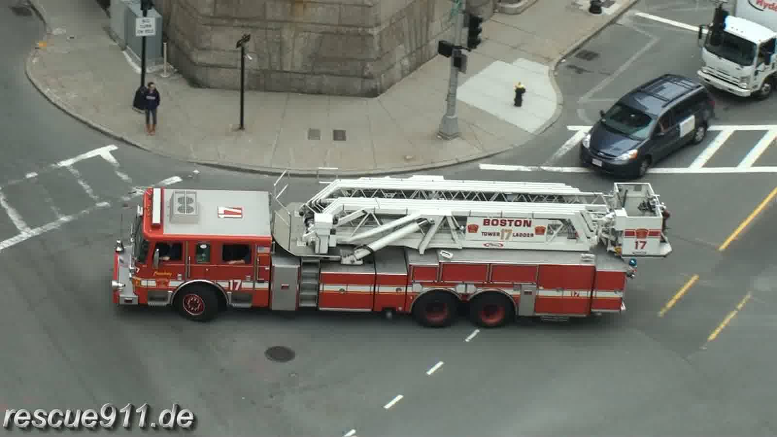 Tower ladder 17 Boston Fire Department + Ambulance A9 Boston EMS (stream)
